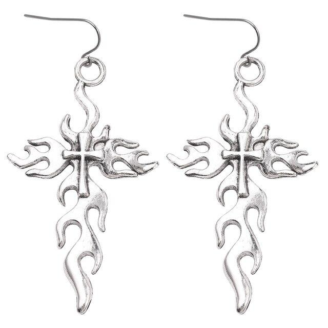 Flame Cross Drop Earrings