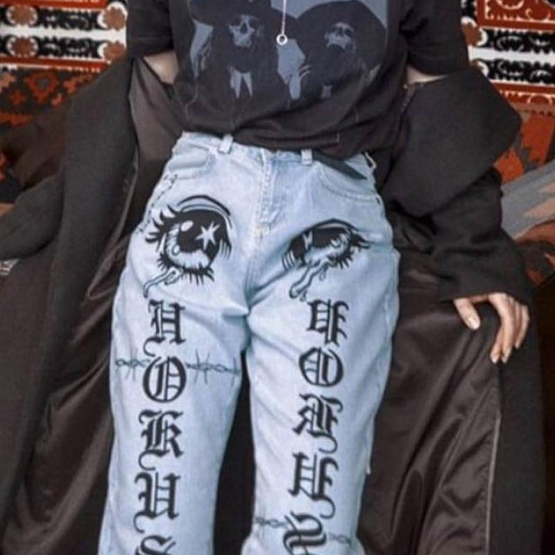 Gothic Print Jeans