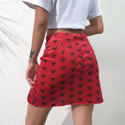 Heart Mini Velvet Skirt