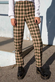 High Rise Plaid Pants