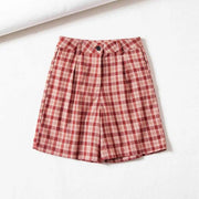 High Rise Plaid Shorts