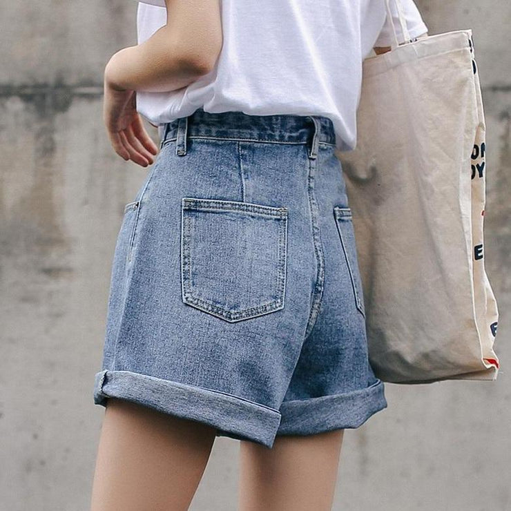 High Waist Wide Leg Denim Shorts