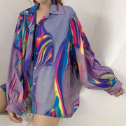 Holographic Print Oversized Shirt