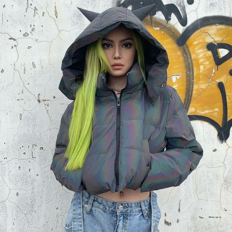 Holographic Puffer Jacket