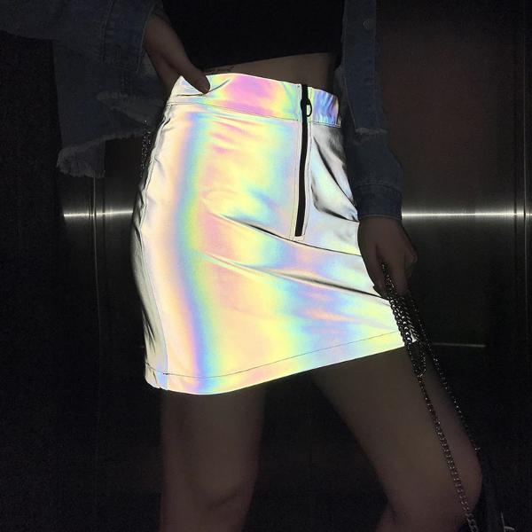 Holographic Zip Skirt