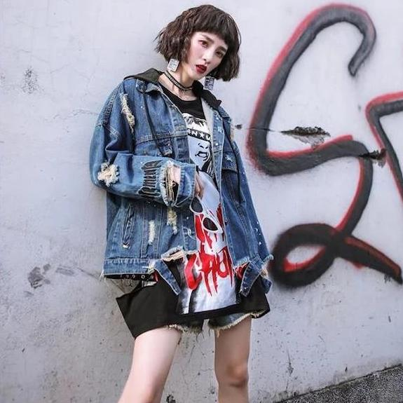 Japanese Denim Rip and Sequin Jacket
