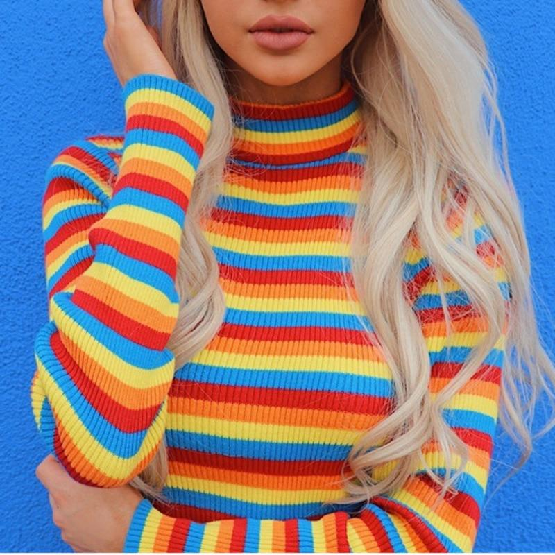 Knitted Striped Turtleneck
