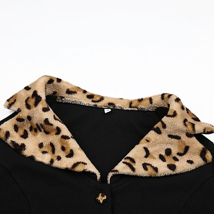 Leopard Collar Cropped Button Up Top