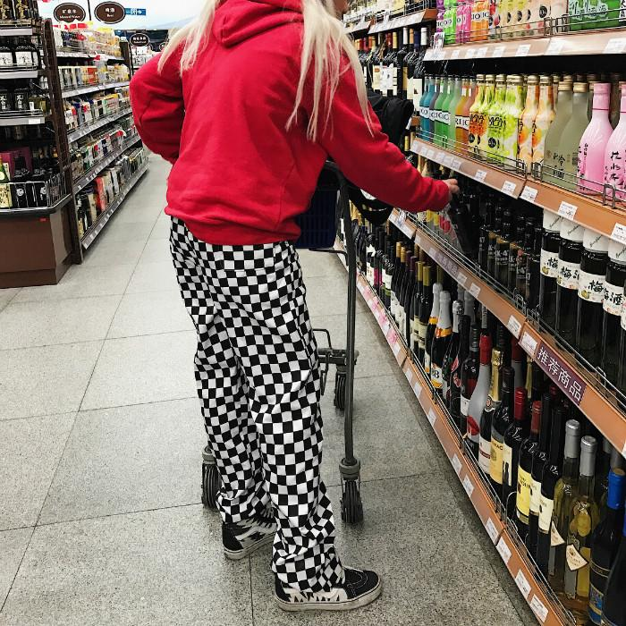 Loose Checkerboard Trousers