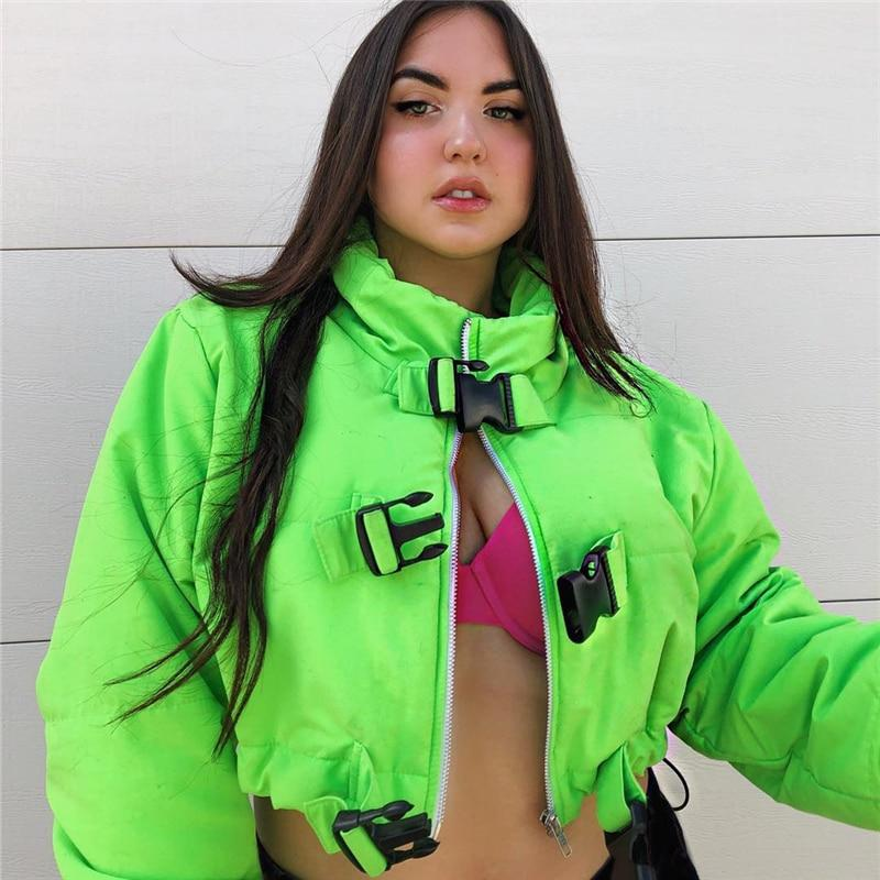 Neon Green Jacket with Buckles