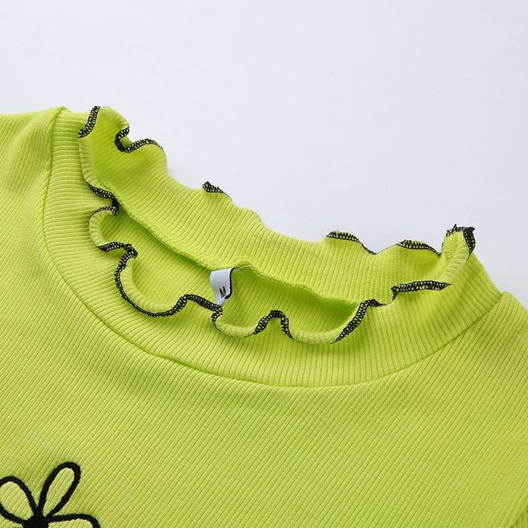 Neon Ruffled Flower Top