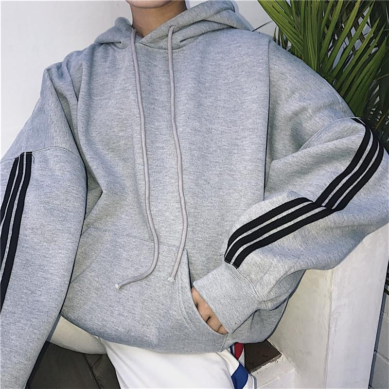 Oversized Plain Hoodie With Stripes