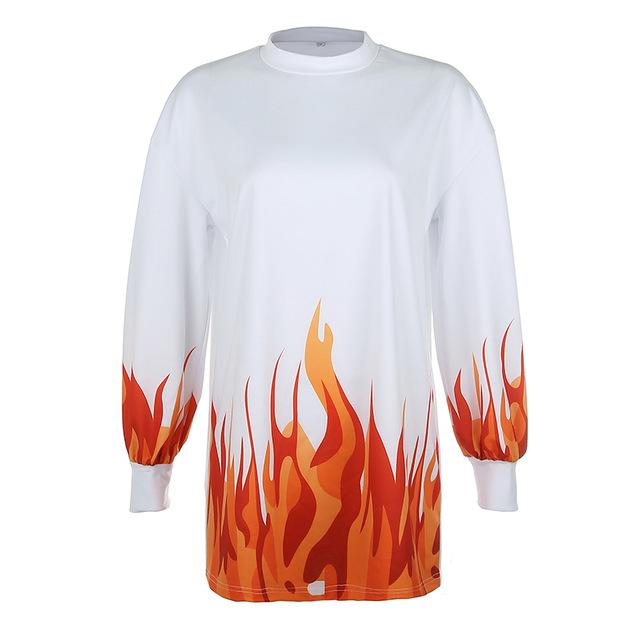 Oversized Sweatshirt with Flames