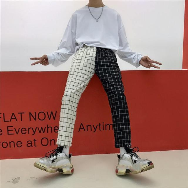 Patchwork Ankle Length Plaid Pants