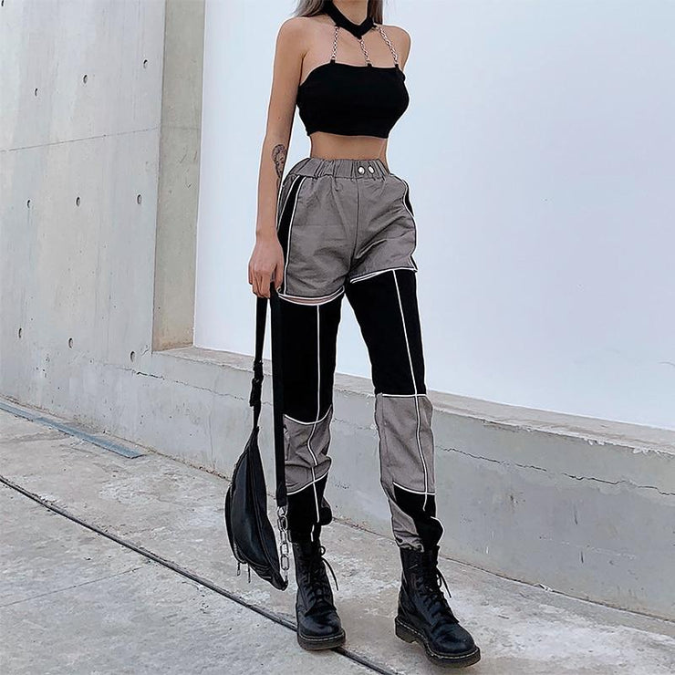 Patchwork Hollow Out Pants