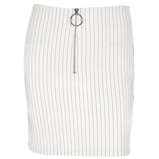 Pinstripe Zipper Skirt