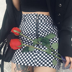 Plaid Zip Skirt