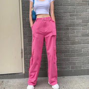 Raspberry Canvas Work Pants