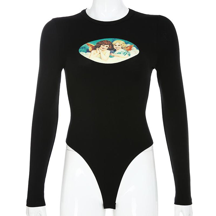 Retro Angel Print Long Sleeve Bodysuit