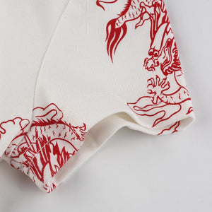 Ribbed Dragon Print Tee