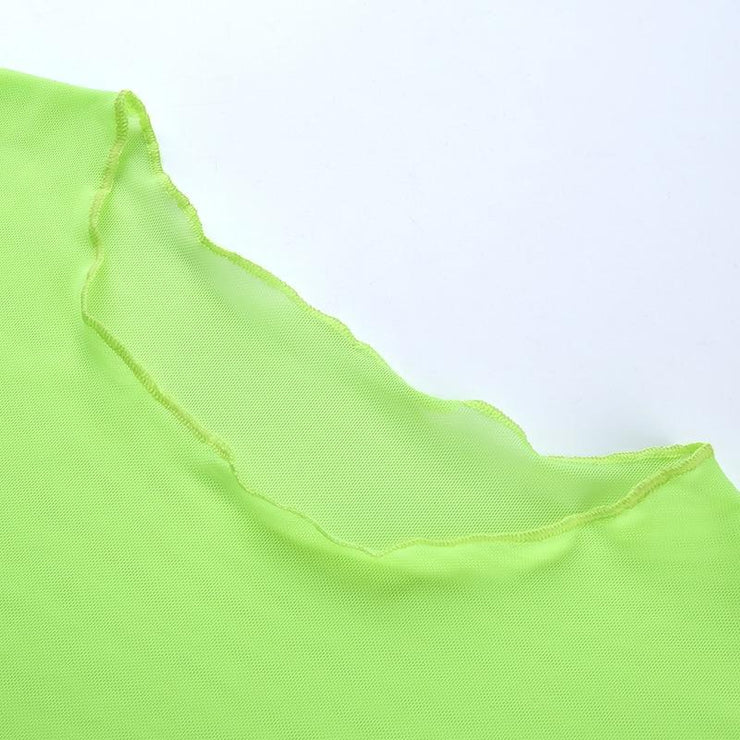 Ruffled Neon Mesh Top