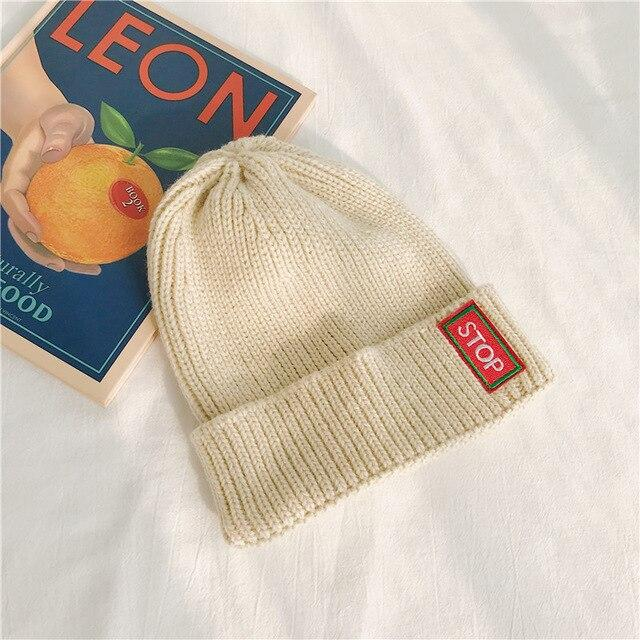 """Stop"" Knitted Beanie"