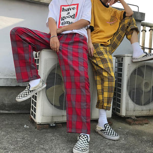 Straight Plaid Pants