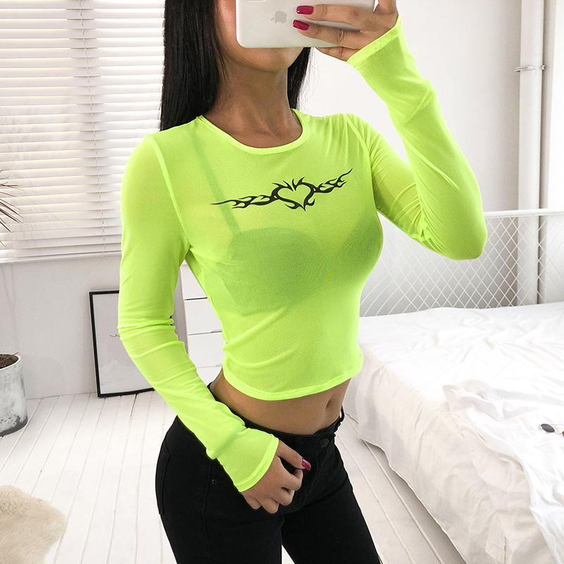 Tribal Heart Neon Mesh Top