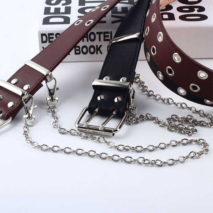 Vegan Leather Chain Belt