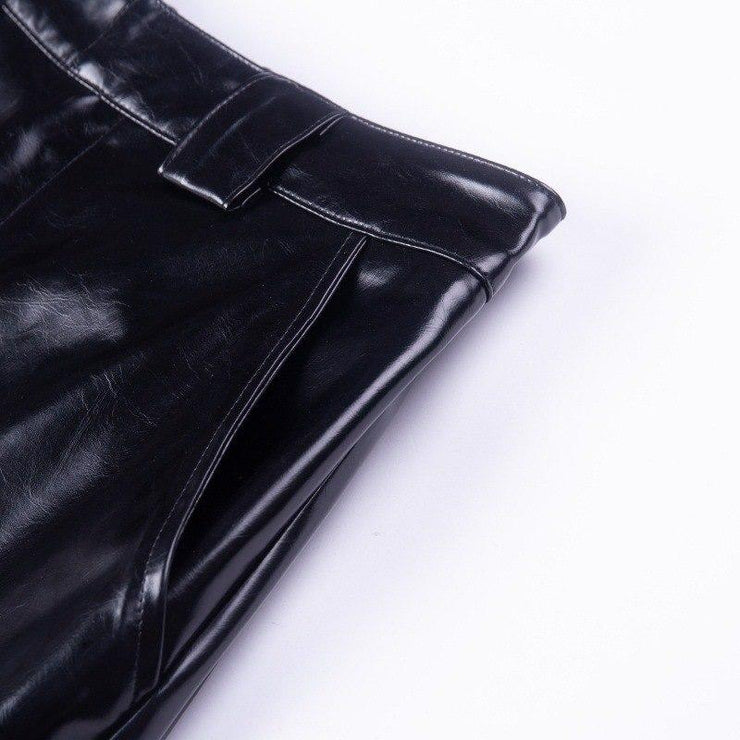 Vegan Leather Chain Pants