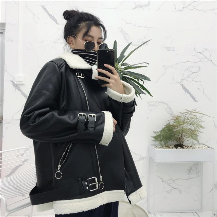 Vegan Leather Sheepskin Jacket