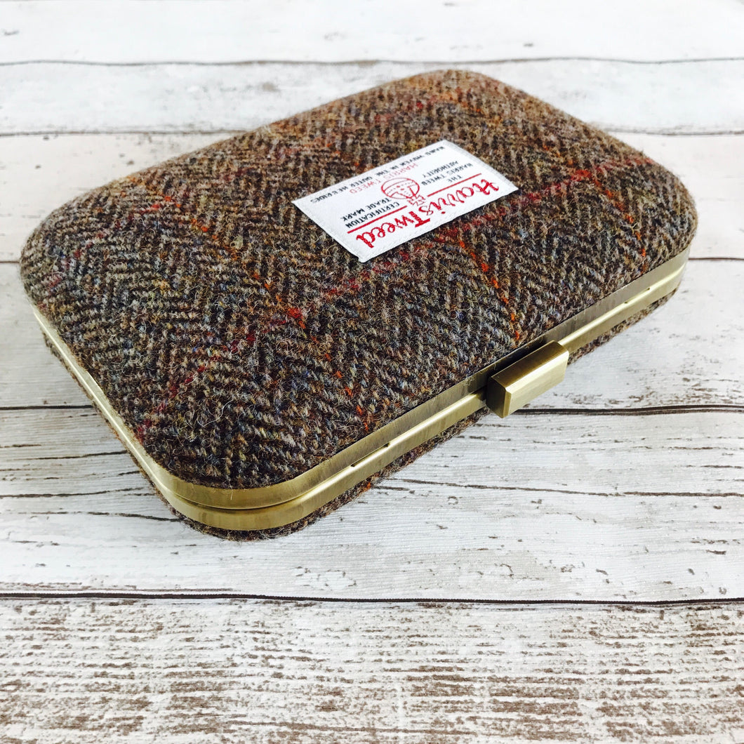 Brown Tweed Clutch Bag