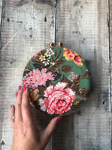 Green Rose Print Bark Cloth Clutch Bag