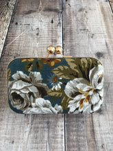 Rose Print, Bark Cloth Clutch Bag