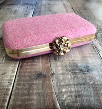 Pink Harris Tweed Clutch Bag