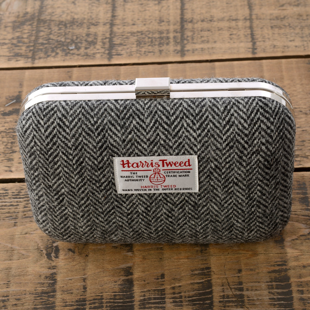 Grey and White Herringbone Harris Tweed Clutch Bag