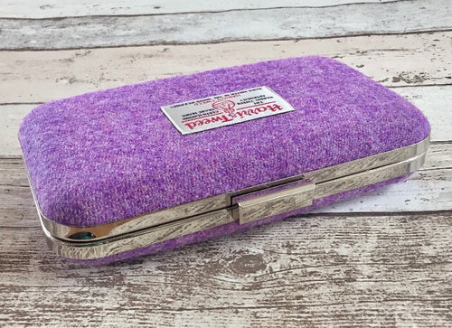 Lilac Harris Tweed Clutch Bag