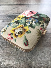 Rose Print Bark Cloth Clutch Bag
