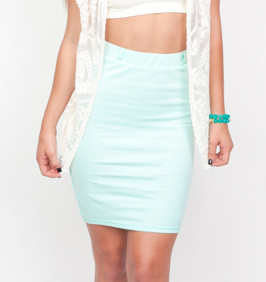 Mint Pencil Skirt
