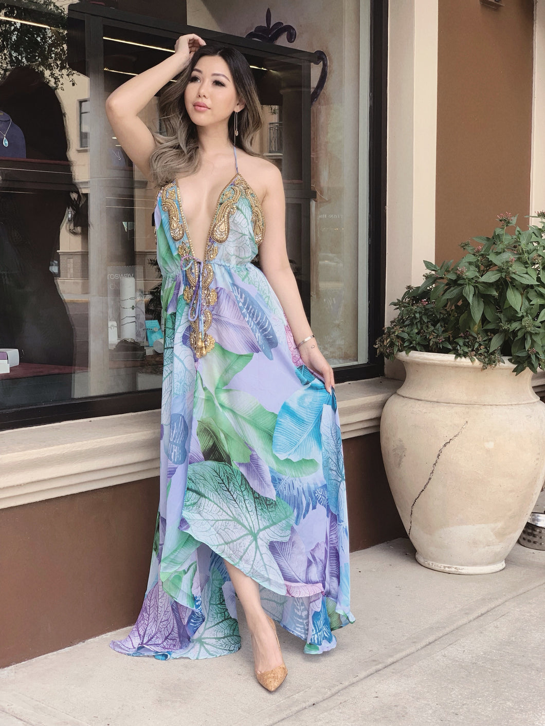 Mesmerizing Lost in Paradise Halter Dress