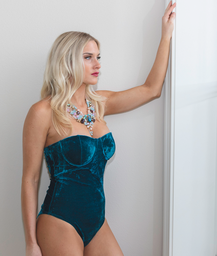 Dark Teal Micro Velvet Sweetheart Bodysuit