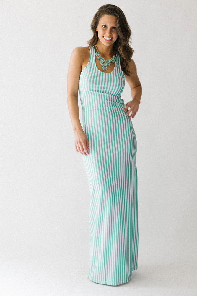 Mint White Stripe Racerback Maxi Dress