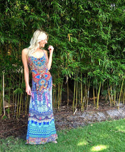 Tribal Addiction Silk Spaghetti Strap Maxi Dress