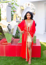 Electric Red Long Kimono Cape