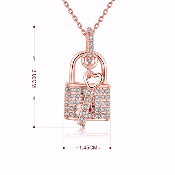 Necklace with Key Pendant & Padlock
