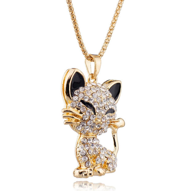 Necklace + rhinestone cat pendant