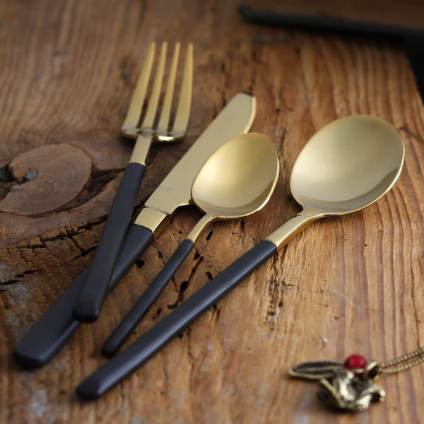 Hemingway Silverware cutlery set black / gold