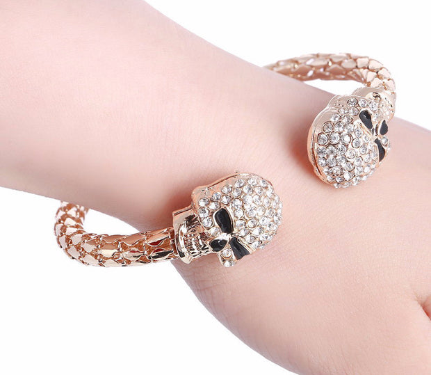 Double skull bracelet with rhinestones