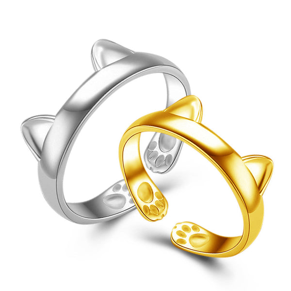 Gold and silver plated cat ring
