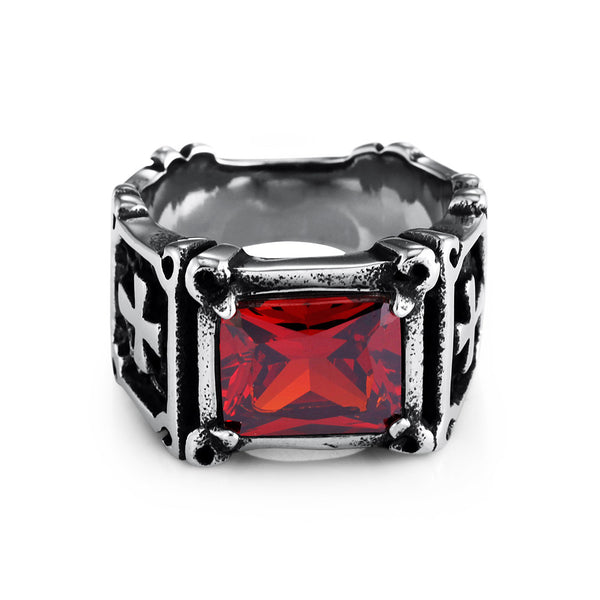 Titanium and steel ring with red or black gem